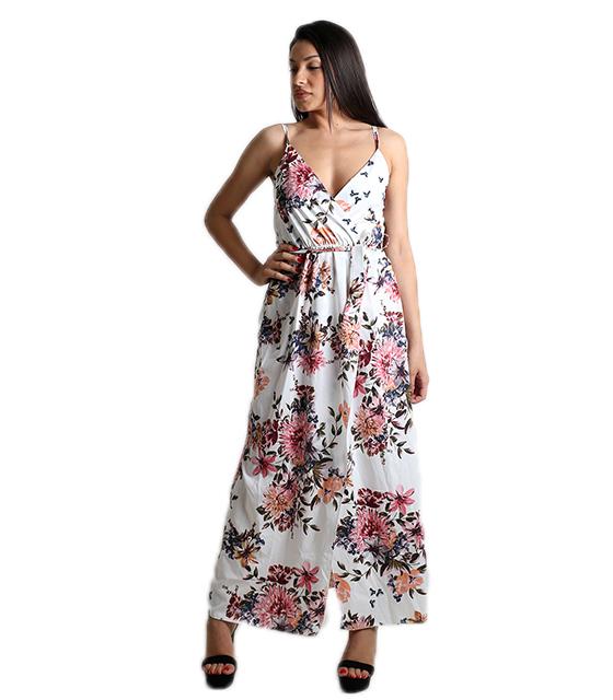 Μάξι φόρεμα φλοράλ κρουαζέ με τιράντες (Λευκό)