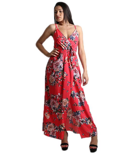 Μάξι φόρεμα φλοράλ κρουαζέ με τιράντες (Κόκκινο)