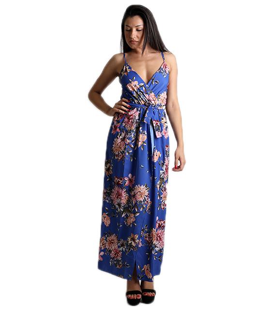 Μάξι φόρεμα φλοράλ κρουαζέ με τιράντες (Μπλε)