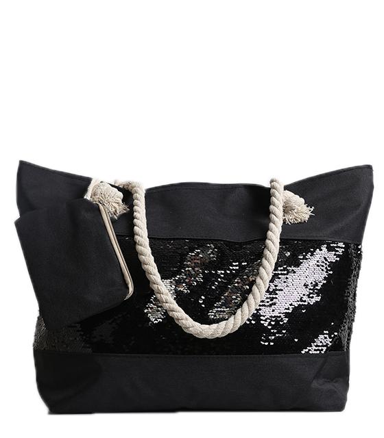 Μαύρη τσάντα θαλάσσης με πούλιες τσάντες   θαλάσσης
