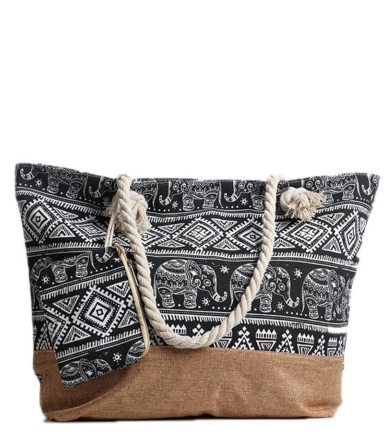 Μαύρη τσάντα θαλάσσης boho τσάντες   θαλάσσης