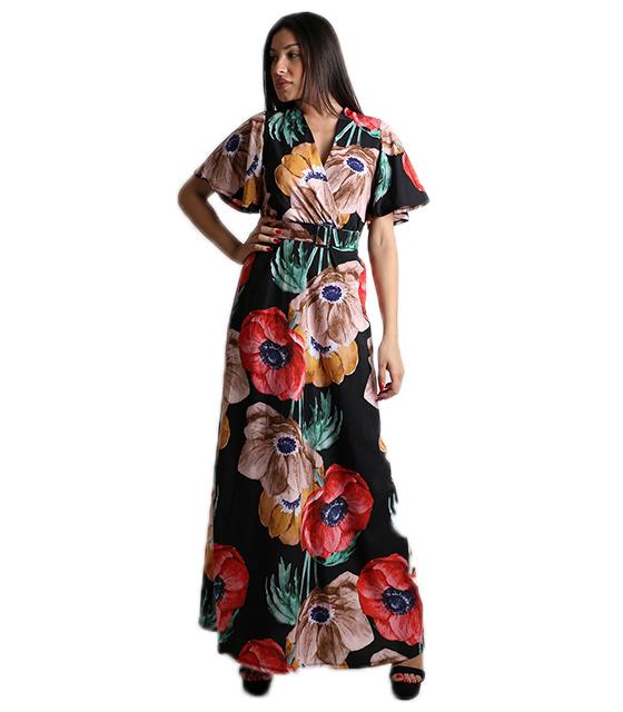 Μάξι φόρεμα φλοράλ κρουαζέ με ζώνη