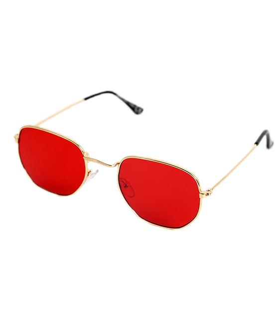 Κόκκινα γυαλιά ηλίου με χρυσό σκελετό