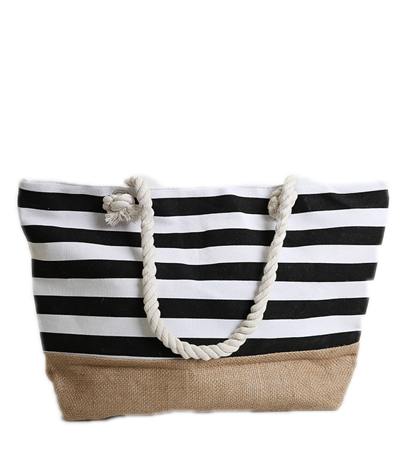 Ριγέ τσάντα θαλάσσης με ψάθινο πάτο ρούχα   μαγιό   αξεσουάρ θαλάσσης