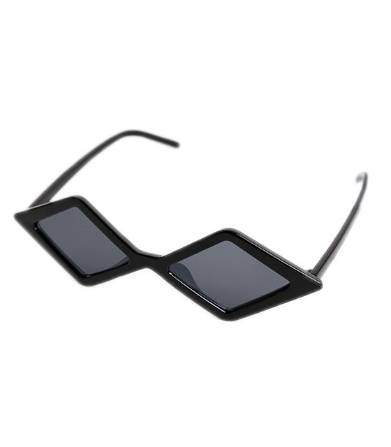 Πολυγωνικά γυαλιά ηλίου με μαύρο φακό (Μαύρο)