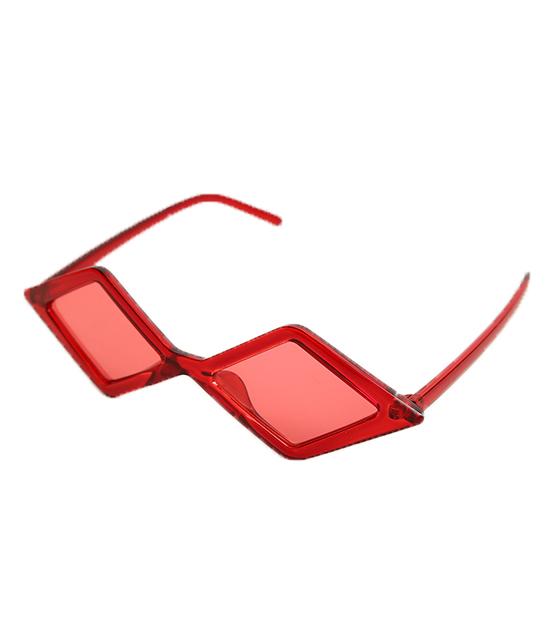Πολυγωνικά γυαλιά ηλίου με κόκκινο φακό (Κόκκινο)