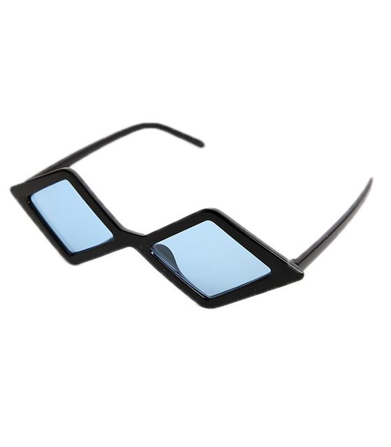 Πολυγωνικά γυαλιά ηλίου με μπλε φακό (Μαύρο)