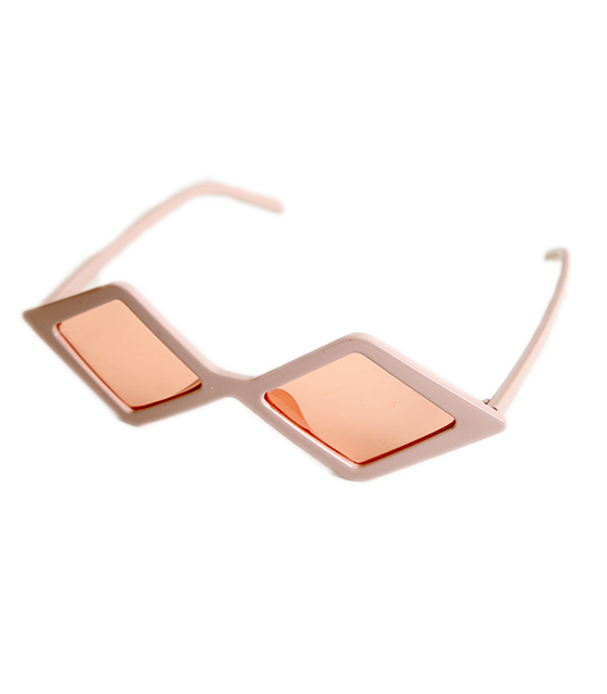 Πολυγωνικά γυαλιά ηλίου με ροζ φακό (Ροζ)