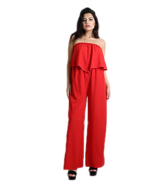 Ολόσωμη φόρμα στράπλες με άνοιγμα (Κόκκινο)