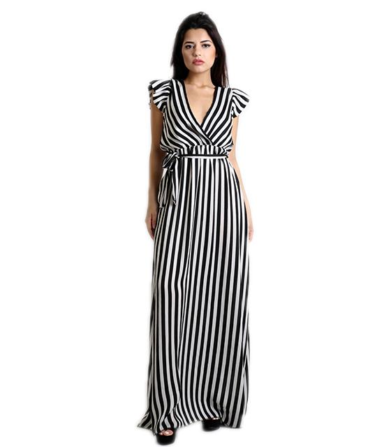 Μάξι φόρεμα ριγέ με φραμπαλά και ζώνη (Άσπρο/Μαύρο)