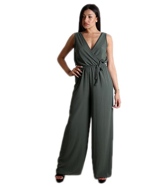 Ολόσωμη φόρμα κρουαζέ με ζώνη (Χακί)