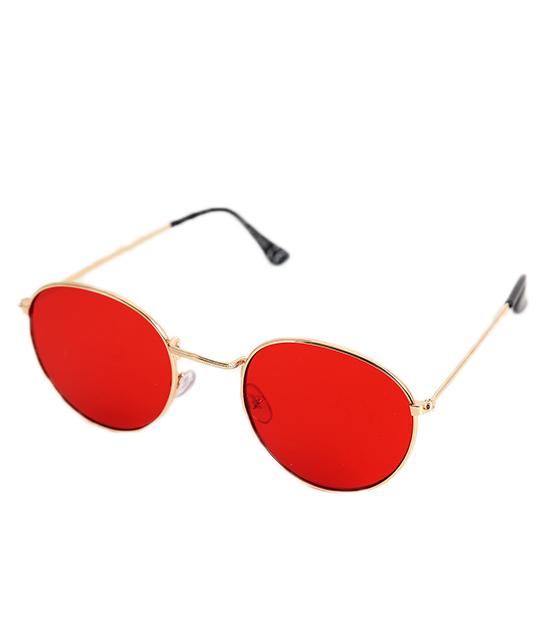 Οβάλ μεταλλικά γυαλιά με χρυσούς μεταλλικούς βραχίωνες (Κόκκινο)