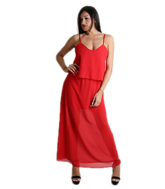 Μάξι φόρεμα με εσωτερική φόδρα (Κόκκινο)