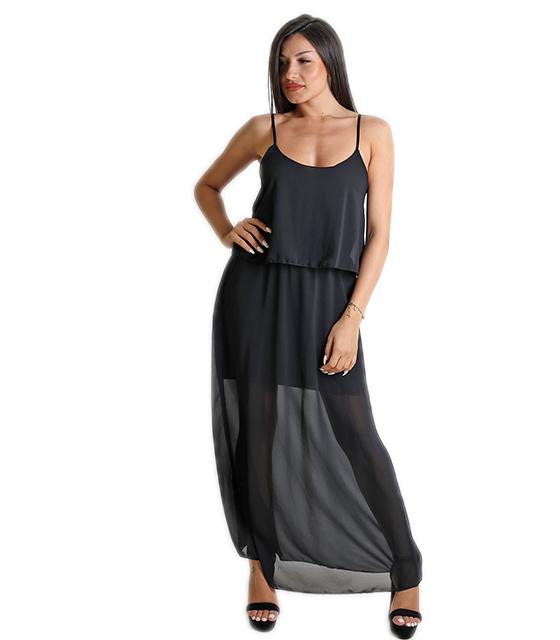 Μάξι φόρεμα με εσωτερική φόδρα (Μαύρο)