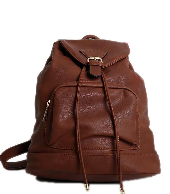 Τσάντα πλάτης καφέ με τόκα