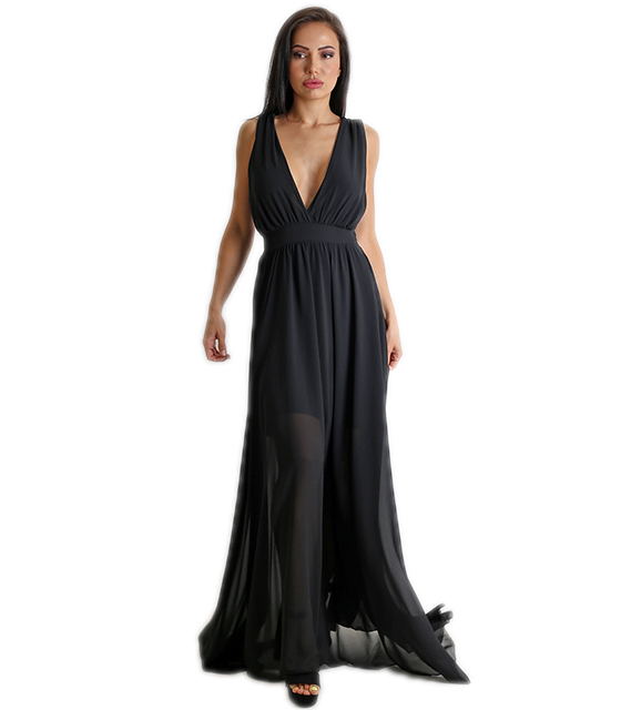 Μαύρο μάξι φόρεμα κρουαζέ