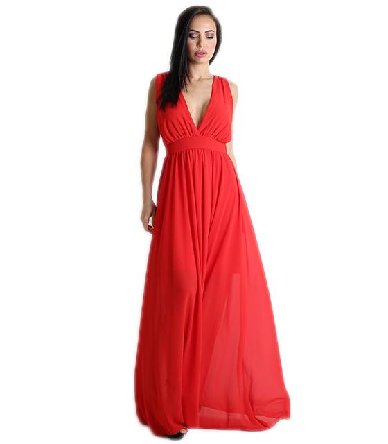 Κόκκινο μάξι φόρεμα κρουαζέ