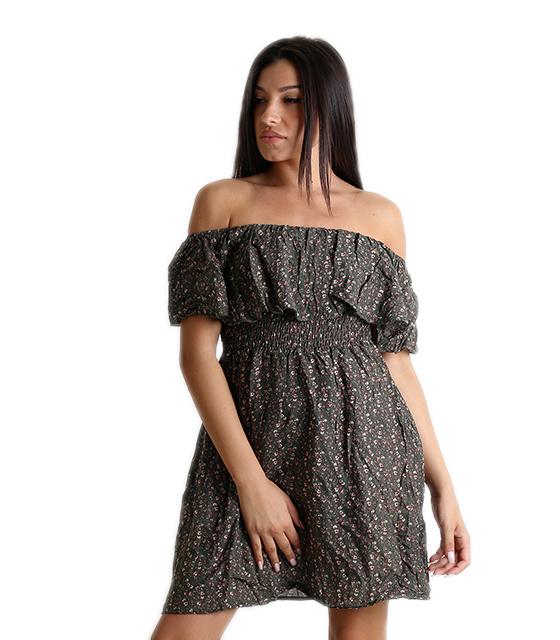 Bardot φόρεμα φλοράλ με σούρα στην μέση (Χακί)