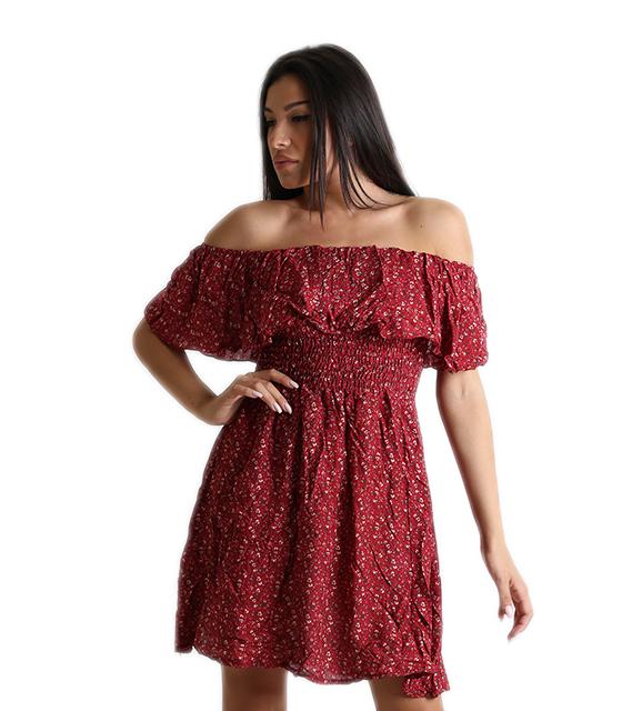 Bardot φόρεμα φλοράλ με σούρα στην μέση (Μπορντό)