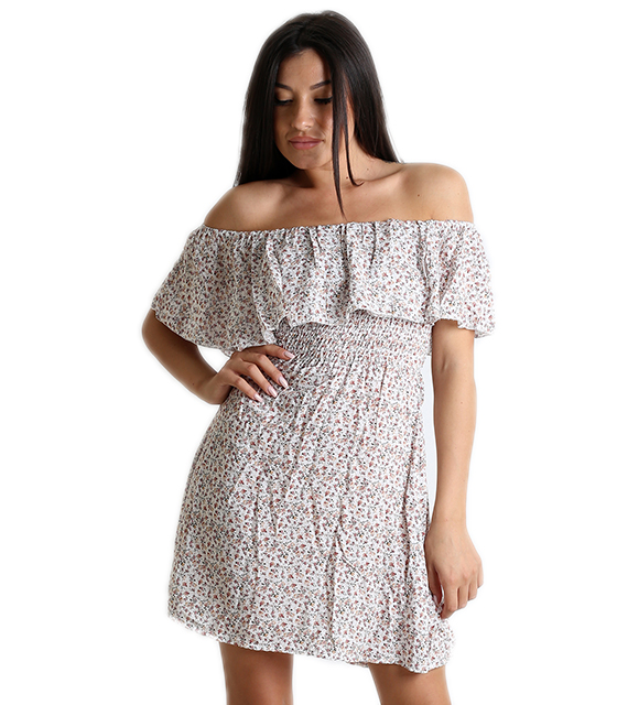 Bardot φόρεμα φλοράλ με σούρα στην μέση (Λευκό)