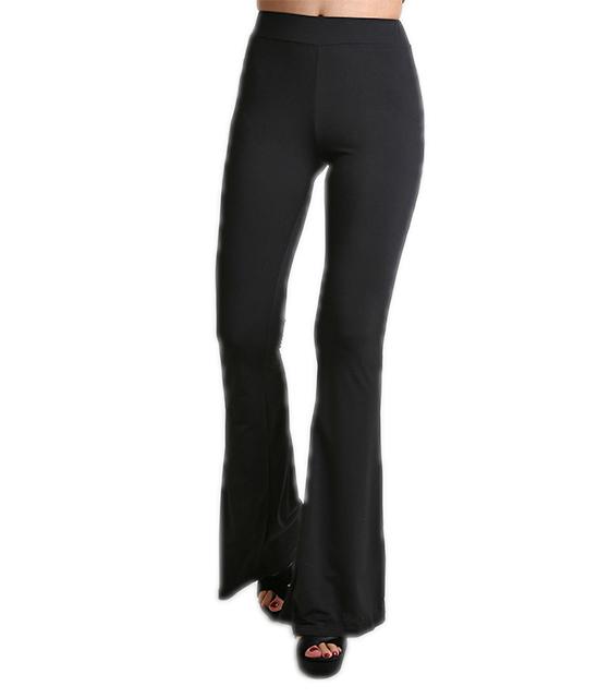 Μαύρη παντελόνα ψηλόμεση καμπάνα με λάστιχο