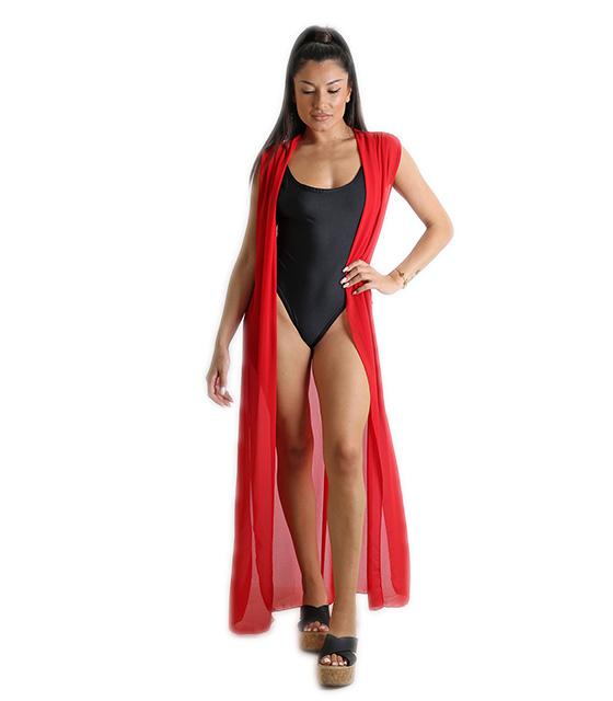 Αμάνικο κιμονό με δέσιμο (Κόκκινο) ρούχα   μαγιό   κιμονό