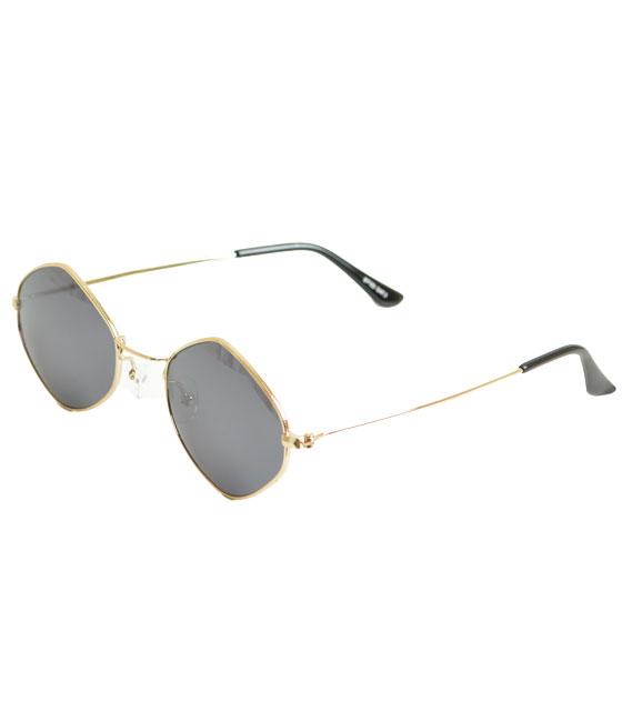Στρόγγυλα γυαλιά ηλίου με μαύρο φακό και χρυσούς βραχίωνες