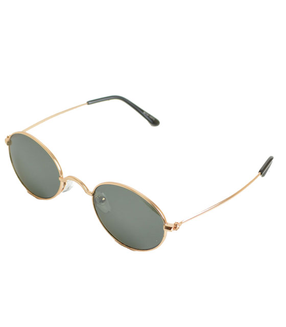 Στρόγγυλα γυαλιά ηλίου με πράσινο φακό και χρυσούς βραχίωνες
