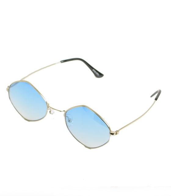 Στρόγγυλα γυαλιά ηλίου με μπλε φακό και ασημί βραχίωνες