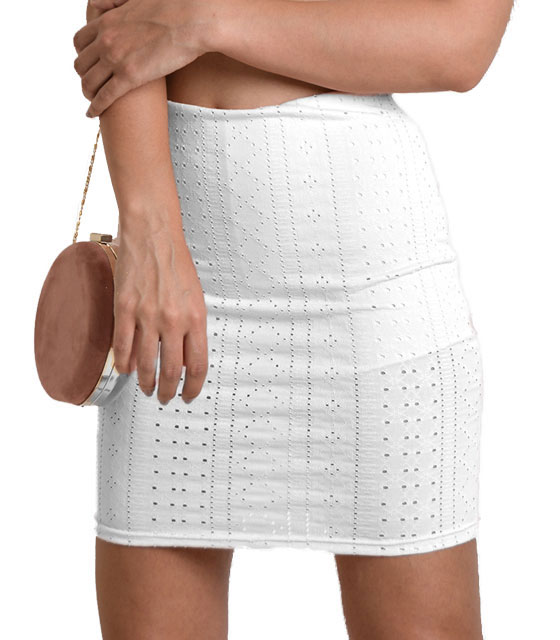 Tρυπητή φούστα (Λευκό)