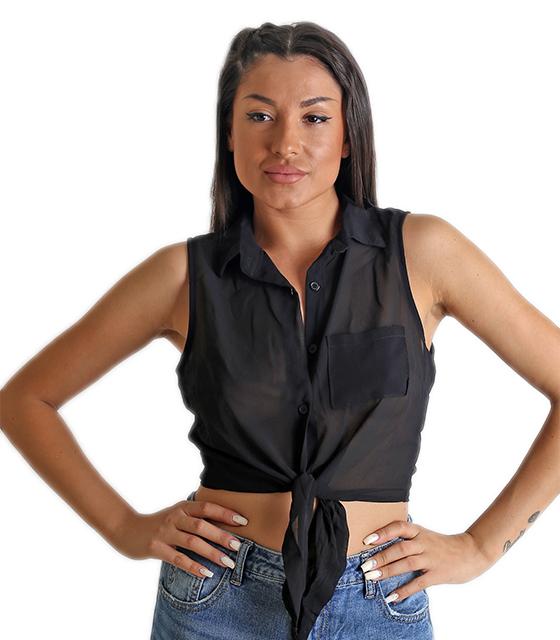 Τοπ αμάνικο πουκάμισο με δέσιμο μπροστά (Μαύρο)