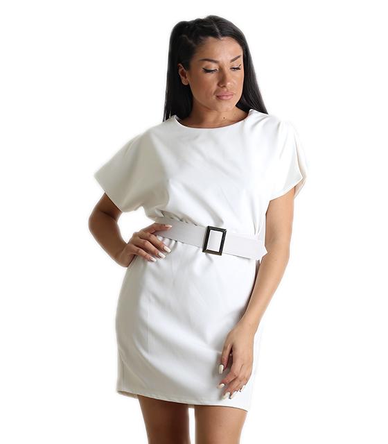 Μίνι φόρεμα με ζώνη (Λευκό)
