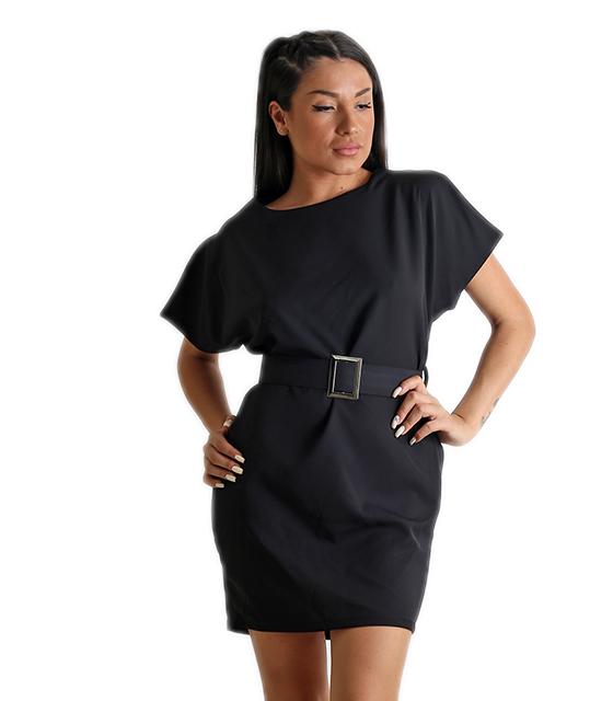 Μίνι φόρεμα με ζώνη (Μαύρο)