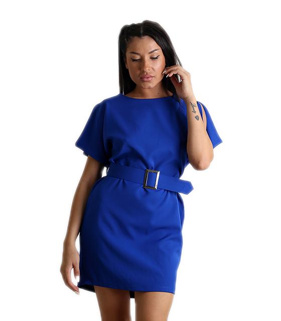 Μίνι φόρεμα με ζώνη (Μπλε)