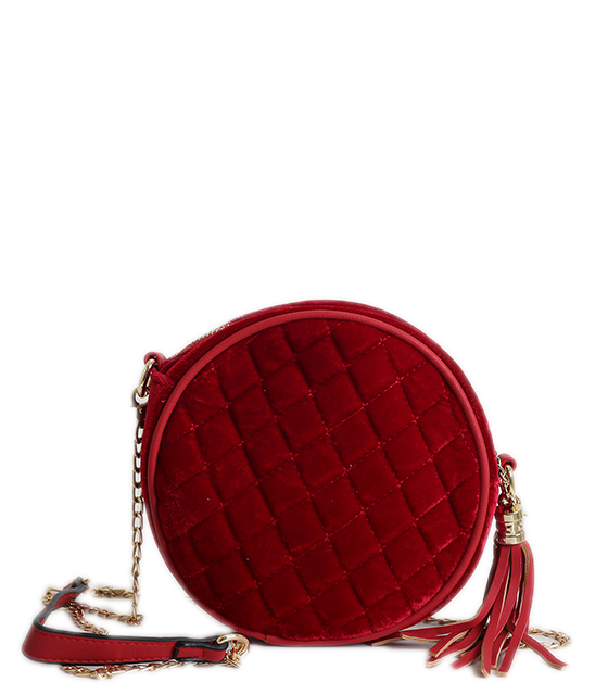 Τσάντα ώμου βελούδινη με χρυσή αλυσίδα (Κόκκινο)