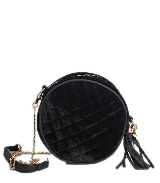 Τσάντα ώμου βελούδινη με χρυσή αλυσίδα (Μαύρο)