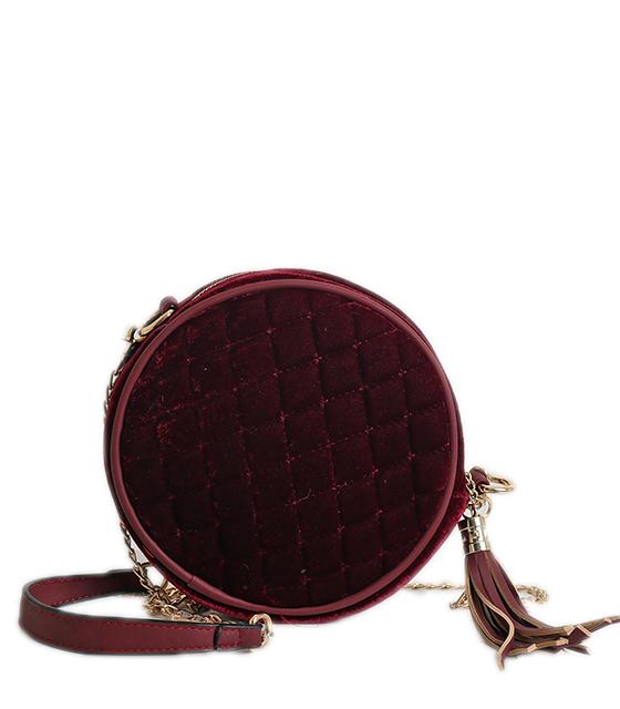 Τσάντα ώμου βελούδινη με χρυσή αλυσίδα (Μπορντό)