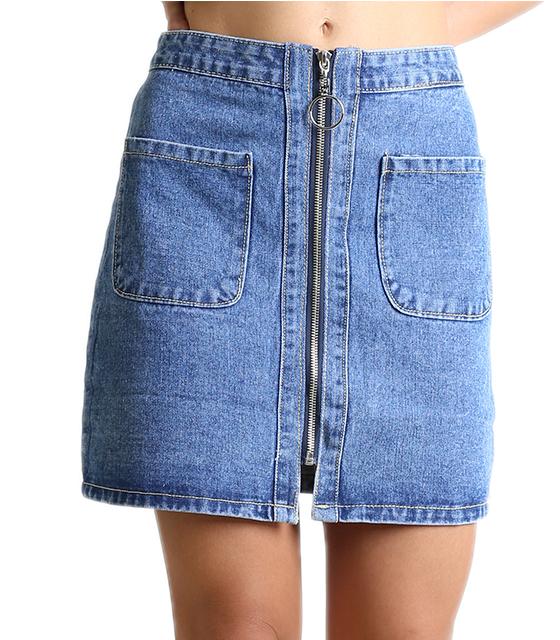 Τζιν φούστα με τσέπες και κρίκο