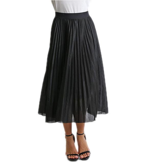 Midi φούστα πλισέ με λάστιχο (Μαύρο)
