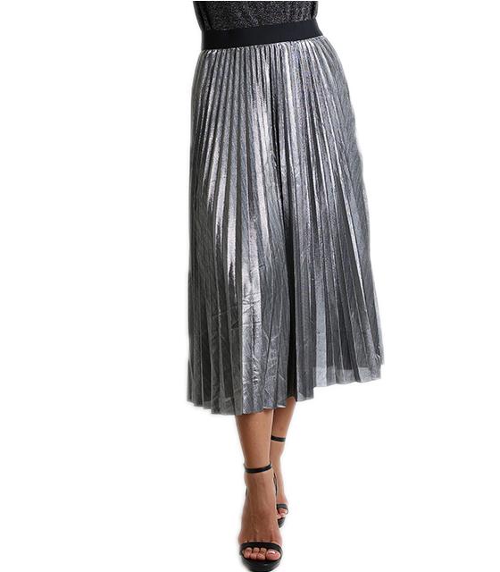Midi φούστα πλισέ με λάστιχο (Ασημί)