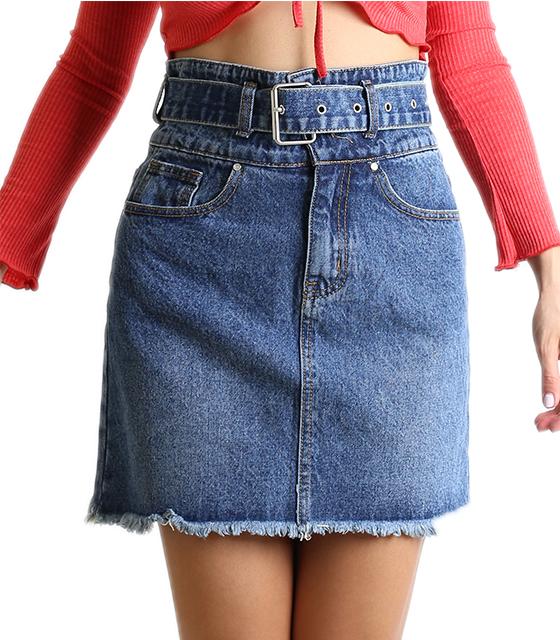 Ψηλόμεση φούστα τζιν με ζώνη  και τσέπες