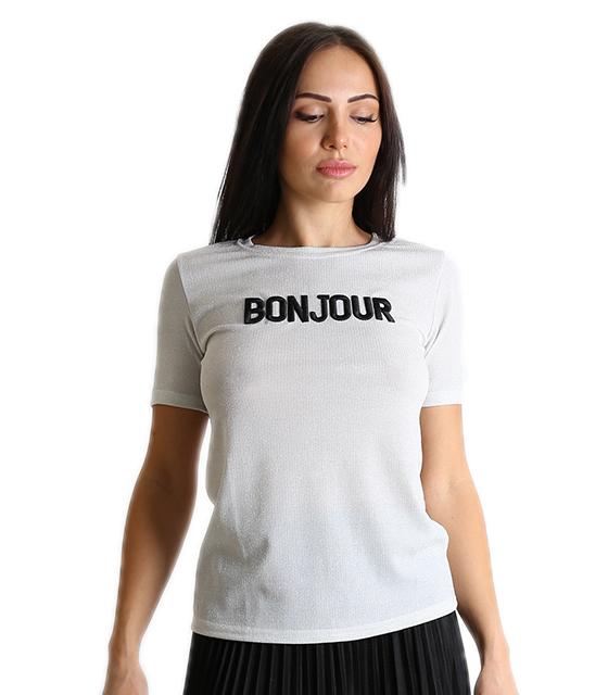 Λούρεξ μπλούζα με επιγραφή ''BONJOUR'' (Ασημί)