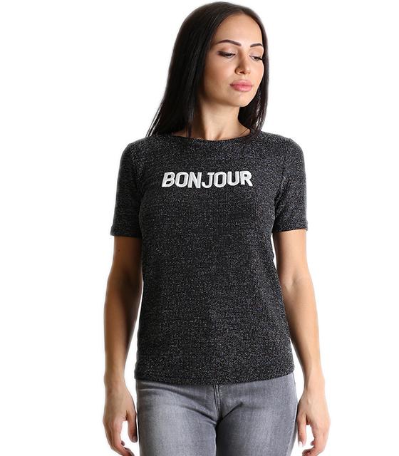 Λούρεξ μπλούζα με επιγραφή ''BONJOUR'' (Μαύρο)