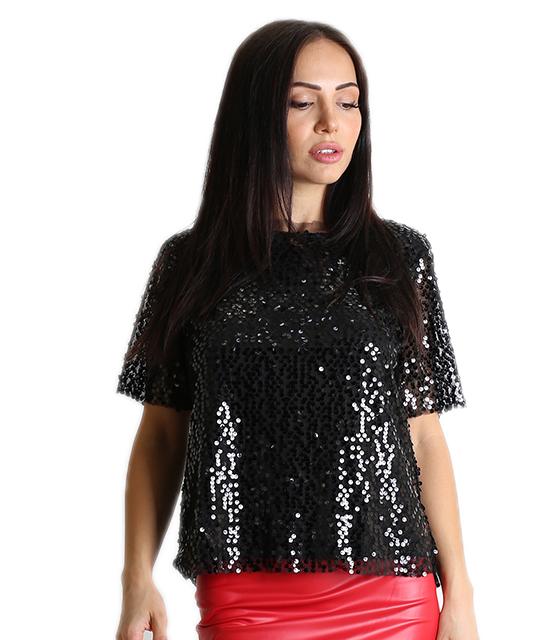 Κοντομάνιικη μπλούζα με πούλιες (Μαύρο)