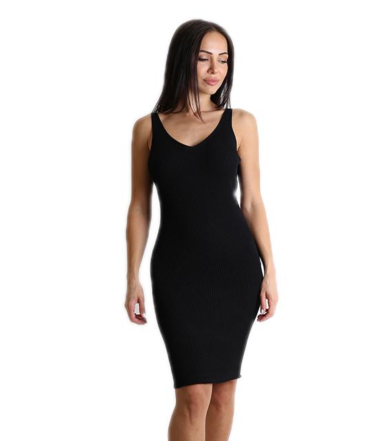 Μίντι φόρεμα πλεκτό ελαστικό  (Μαύρο)