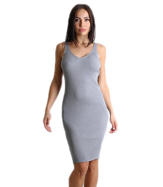 Μίντι φόρεμα πλεκτό ελαστικό (Γκρι) 6c435163f77