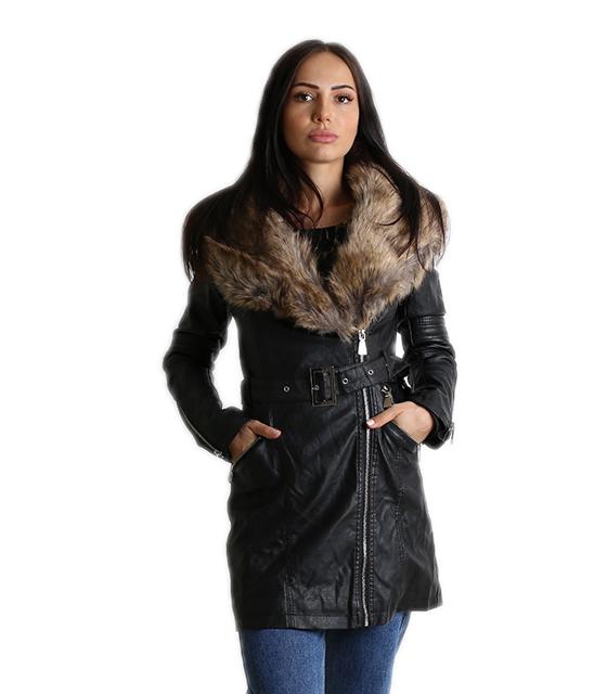 Jacket δερματίνη με ζώνη και αποσπώμενο γούνινο γιακά (Μαύρο)