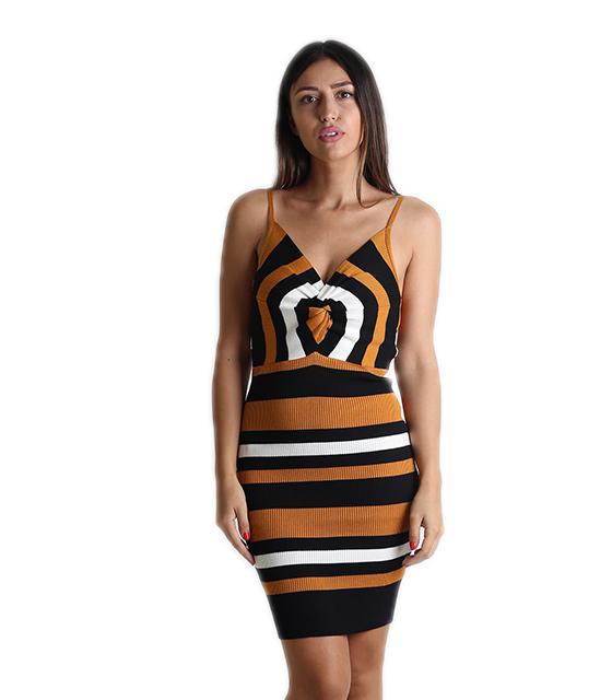 Πλεκτό φόρεμα με ρυθμιζόμενες τιράντες και κόμπο (Κίτρινο)