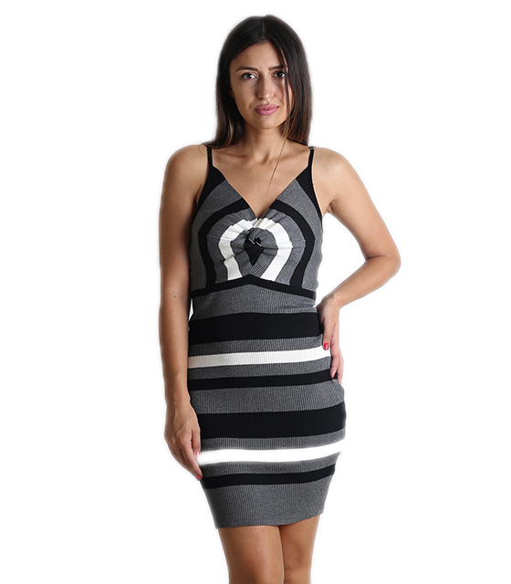 Πλεκτό φόρεμα με ρυθμιζόμενες τιράντες και κόμπο (Μαύρο)