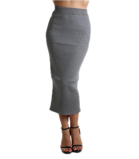 Πλεκτή φούστα μίντι με λάστιχο (Γκρι)